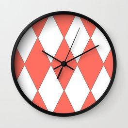 LIVING CORAL - LARGE HARLEQUIN DESIGN Wall Clock