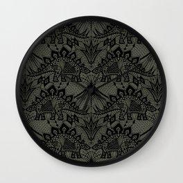Stegosaurus Lace - Black / Grey Wall Clock