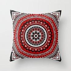 Red and Black Mandala Throw Pillow