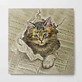 VINTAGE KITTEN DRAWING PRINT Metal Print
