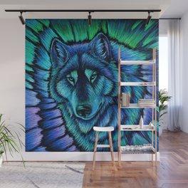 Blue Wolf Aurora Colorful Fantasy Wall Mural