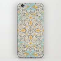 bedding iPhone & iPod Skins featuring Gypsy Floral in Soft Neutrals, Grey & Yellow on Sage by micklyn