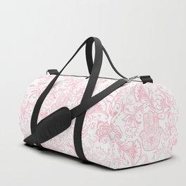 Pastel pink white henna hamsa Hand of Fatima floral mandala Duffle Bag