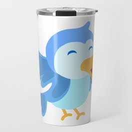 Blue Kuckoo Bird Singing Travel Mug