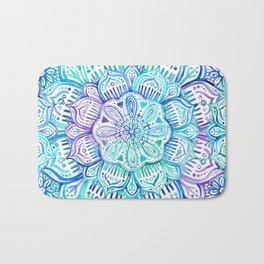 Iridescent Aqua and Purple Watercolor Mandala Bath Mat