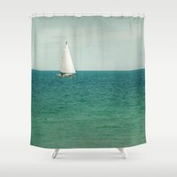 sail Shower Curtains featuring Minty Sail by Pure Nature Photos