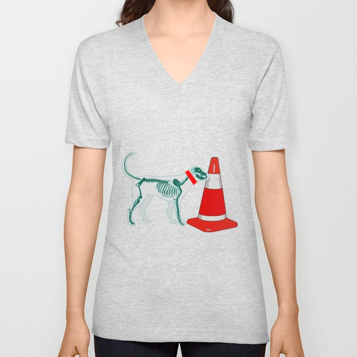 DOG SNIFING TRAFFIC RUBBER CONE Unisex V-Neck