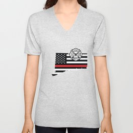 Connecticut Firefighter Shield Thin Red Line Flag Unisex V-Neck