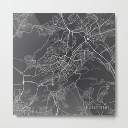 Stuttgart Map, Germany - Gray Metal Print