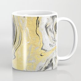 Reiko - gold grey black and white minimal marble abstract ink japanese modern monoprint art  Coffee Mug
