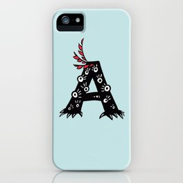 Letter A Funny Character Drawing iPhone Case