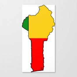 Benin Map with Flag of Benin Canvas Print