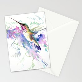 Hummingbird and Soft Purple Flowers Stationery Cards