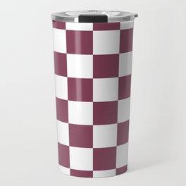 Purple, Mulberry: Checkered Pattern Travel Mug
