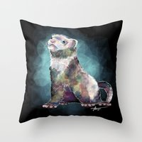 ferret Throw Pillows featuring Ferret Time ! by margaw
