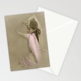 """Mattaharish"" - The Playful Pinup - Vintage Weathered Pinup Girl by Maxwell H. Johnson Stationery Cards"
