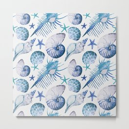 Sea Life Pattern 07 Metal Print