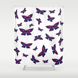 Fly With Pride: Bisexual Flag Butterfly Shower Curtain