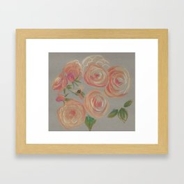 Peach Roses Framed Art Print