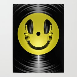 Vinyl headphone smiley Poster