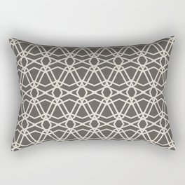 Brown and Cream Line Geometric Pattern Chains 2021 Color of the Year Urbane Bronze and Shoji White Rectangular Pillow