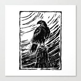 Harris Hawk Woodcut Canvas Print