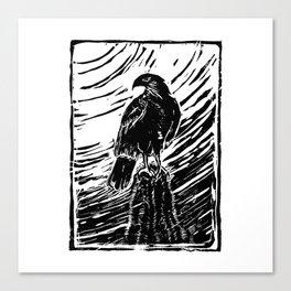 Harris Hawk Woodcut Canvas Print