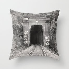 Bellingham Railroad Tunnel, Washington Trains, Northwest Landscape, Sepia Print Throw Pillow