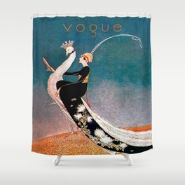 Art Deco White Peacock and Flapper Vintage Art Shower Curtain