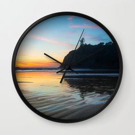 Ocean Dreams - Sunset Silhouette Along Ruby Beach in Washington Wall Clock