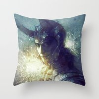 king Throw Pillows featuring King by Anna Dittmann