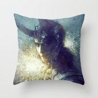 stephen king Throw Pillows featuring King by Anna Dittmann