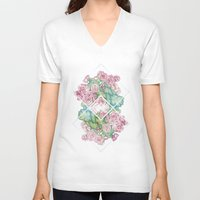 leah flores V-neck T-shirts featuring Flores by Barlena