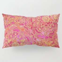 Hot Pink and Gold Baroque Floral Pattern Pillow Sham
