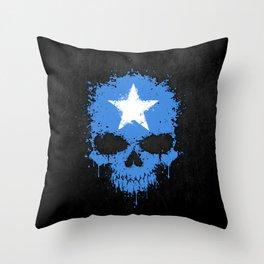 Flag of Somalia on a Chaotic Splatter Skull Throw Pillow