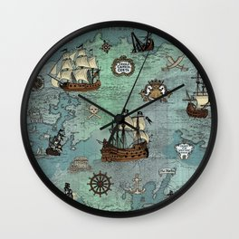 Pirate Map Wall Clocks | Society6