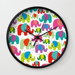 Colorful india elephant kids illustration pattern Wall Clock