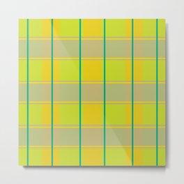 orange green tartan pattern  Metal Print