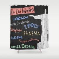 rio de janeiro Shower Curtains featuring Rio De Janeiro Tourism Poster by Finlay McNevin