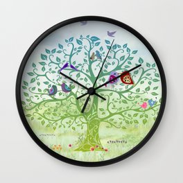 Love Birds in a Colorful Tree Wall Clock