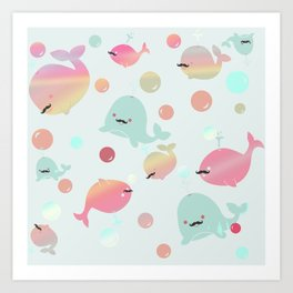 Bubblegum Whales with Mustaches Art Print