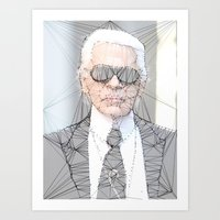 karl lagerfeld Art Prints featuring ICONS: Karl Lagerfeld by LeeandPeoples