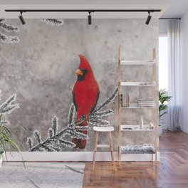 The Red Cardinal in winter Wall Mural