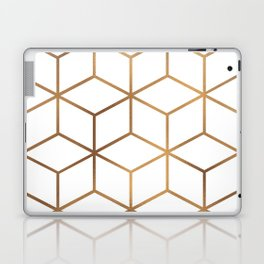 White and Gold - Geometric Cube Design Laptop & iPad Skin