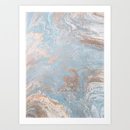 Rose Gold & Baby Blue Art Print