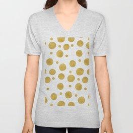 Painted Gold Dots on White Unisex V-Neck