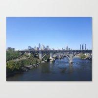 minneapolis Canvas Prints featuring Minneapolis by SaltyDesigns