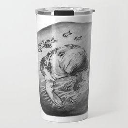 Manatee and fish by annmariescreations Travel Mug