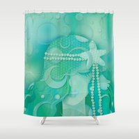 mermaid Shower Curtains featuring Ocean Queen by Graphic Tabby
