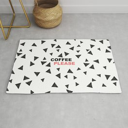 Simple black triangles coffee please modern typography Rug